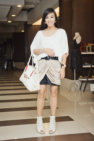 white Zara top - black Glitterati skirt - white bought online shoes - beige Kors