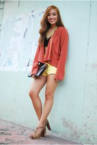 coral draped Forever 21 cardigan - yellow shorts