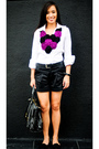 White-zara-top-black-zara-shorts-black-zara-belt-black-bazaar-shoes-blac