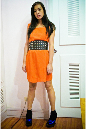 orange Zara dress - black Glitterati belt - blue Topshop shoes - black random br
