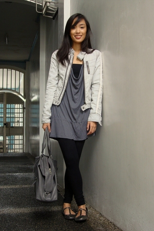 gray denim River Island jacket - gray flats Topshop shoes