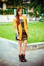 Brown-boots-given-as-a-gift-shoes-gold-tube-glitterati-dress-orange-vintage-