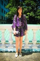purple Tango dress - black random brand shorts - beige ichigo shoes - black Zara