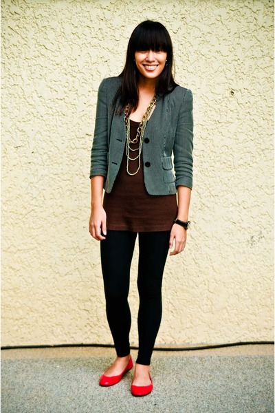 top - leggings - shoes - blazer - necklace
