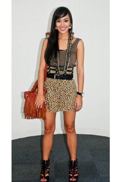 green Topshop top - brown random brand shorts - brown bought online shoes - brow