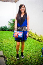 blue Tango dress - black Glitterati belt - blue Topshop accessories - black rand