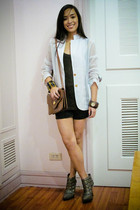 white blazer - black Topshop top - black Zara shorts - gray online shoes - brown