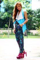 teal printed charlie pants