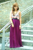 purple Forever 21 top - purple custom made skirt
