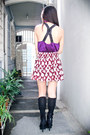 Purple-forever-21-top-maroon-forever-21-skirt-black-forever-21-shoes