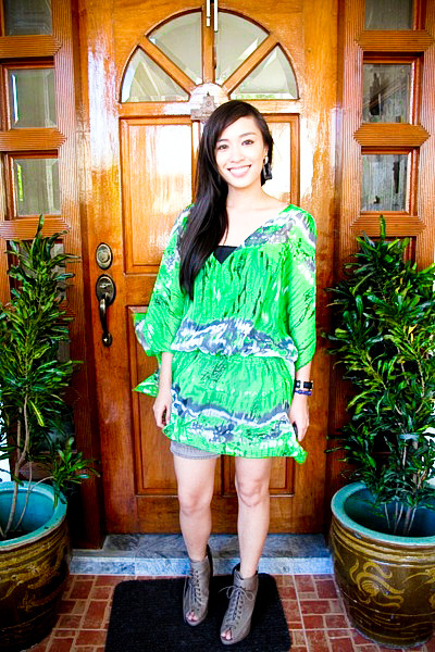 green Betty top - brown Zara shorts - gray Forever 21 shoes