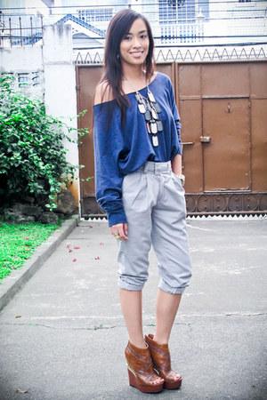 blue Forever 21 top - gray pants - brown michael antonio shoes - silver Cuteture