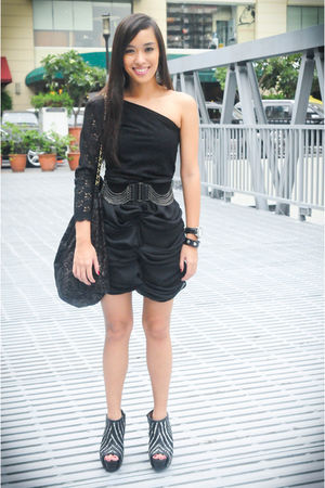 black Poisonberry dress - black random brand skirt - black Glitterati belt - bla