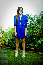 blue it was given to me as a gift coat - green Zara shorts - white online shoes