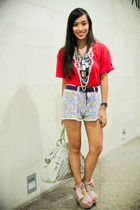 red oversized bench shirt - pink wisteria wedges Topshop shoes