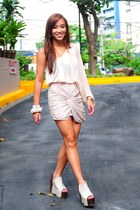 draped SM skirt - heels Gold Dot shoes - assymetrical random brand top