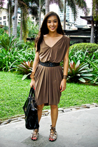 green random from Hong Kong dress - brown tonic shoes - black CMG accessories -