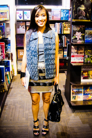 gray Bazaar vest - gray Topshop top - silver Glitterati skirt - black online sho
