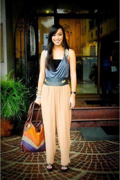 gray Dorothy Perkins top - brown Zara pants - black Glitterati belt - brown boug