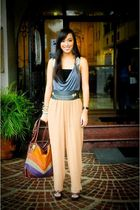 gray Dorothy Perkins top - brown Zara pants - black Glitterati belt - brown boug