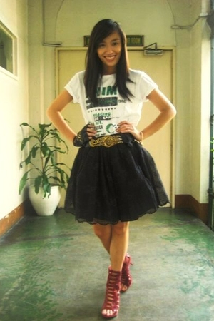 Green Tag shirt - Moonshine skirt - Cintura belt - bought online shoes - Lord Ma