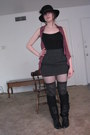 Black-fish-net-target-tights-gray-cotton-kohls-socks-pink-pleated-duo-blouse