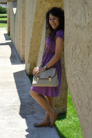 purple cotton toronto dress - neutral leather Ebay bag