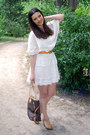 White-h-m-dress-dark-brown-louis-vuitton-bag-yellow-blanco-wedges-orange-h