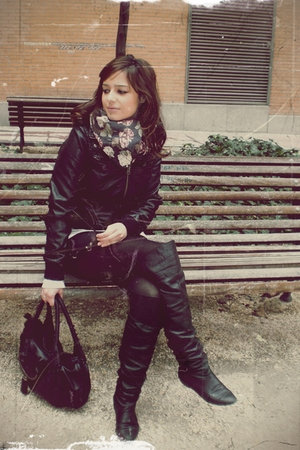 black hazel boots - black Fendi - black Mango dress - gray MY EX BOYFRIEND cardi