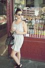Black-unknown-brand-bag-gray-h-m-dress-black-h-m-belt-ray-ban-earrings
