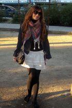 white Colcci skirt - Levis jacket - black Chanel lambskin 255 - black Mango