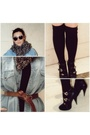 Black-h-m-shoes-my-daddy-shirt-black-h-m-socks-h-m-scarf-black-h-m-dress