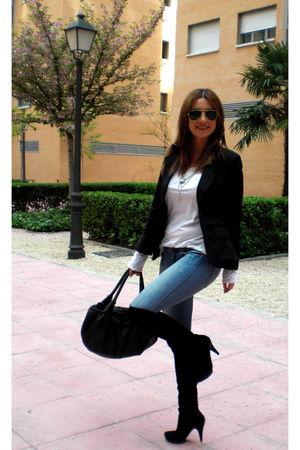 black Topshop boots - black Fendi purse - BLANCO jeans - rayban
