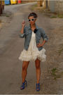 White-unknown-brand-dress-blue-zara-shoes-levis-vintage-collection-jacket-
