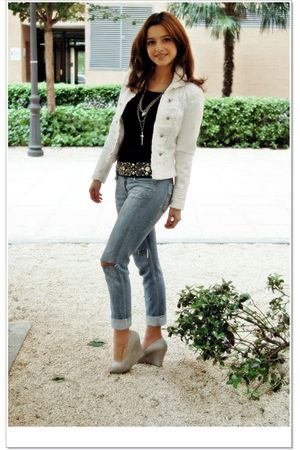 white Zara jacket - gray unknown shoes - D&amp;G jeans - black Sfera belt