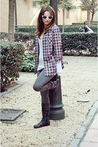 Zara shirt - black unknown brand boots - gray Zara leggings - white glasses