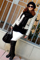 black over knee boots - black Fendi Spy Bag - white Mango jeans - white Zara jac