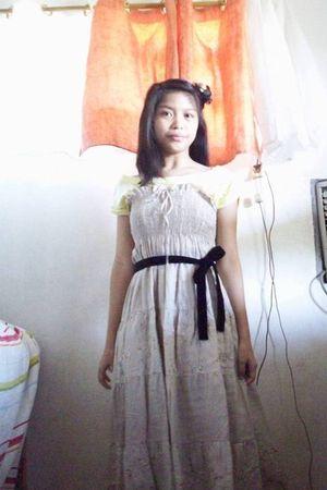 beige - black belt - yellow dress