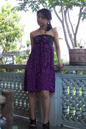 purple dress - orange Juicy Couture earrings - brown necklace
