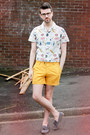 White-topman-shirt-light-yellow-h-m-shorts-heather-gray-topman-loafers