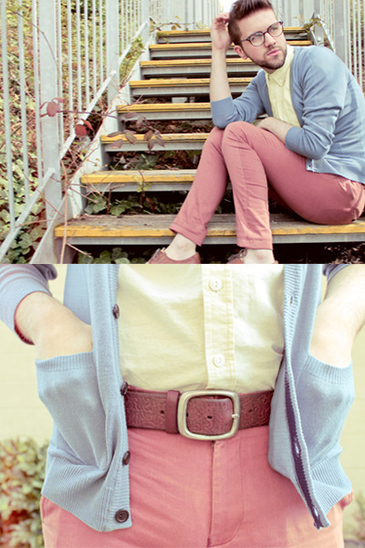 light yellow shirt - brown shoes - brick red Topman pants - sky blue cardigan