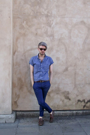 brown vintage shoes - blue Topman shirt - bronze River Island sunglasses
