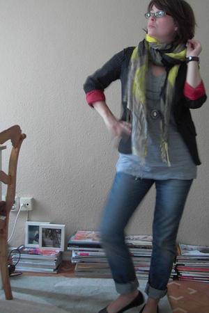 H&M jeans - H&M blazer - H&M scarf - H&M necklace