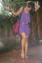my moms purple top worn as a dress - 168 purple belt - Grendha gold gladiators -