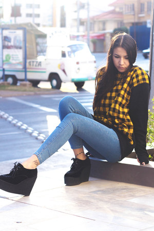 jeggings Topshop jeans - creepers Underground wedges - wool made in chola jumper