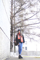 plaid neon Topshop scarf - denim Bershka jeans - vintage jacket