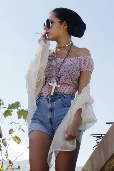 floral Way shirt - chiffon Victorias Secret blazer - denim Levis shorts