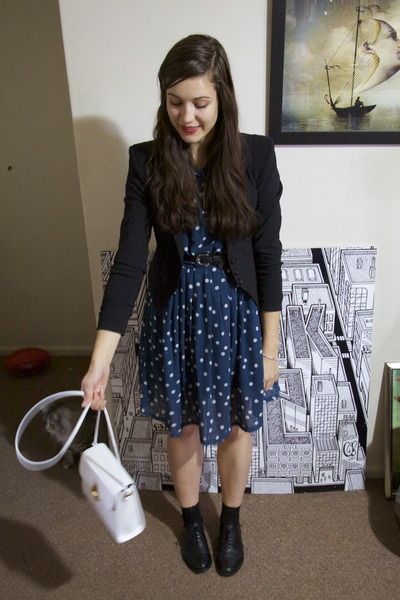 blue polka dot vintage dress - black shoulder pad Target blazer