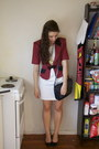White-shift-op-shop-dress-maroon-cropped-op-shop-jacket
