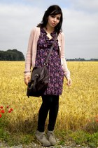 purple new look dress - crimson asos bag - neutral Pull and Bear cardigan